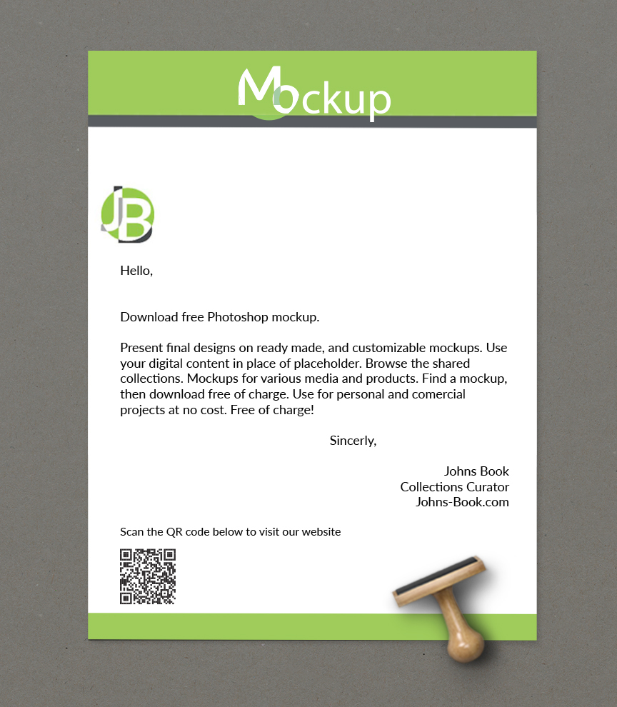 Mockup Preview - Letter Paper Stationary - No cost Adobe Photoshop Mockup Download. Free Template